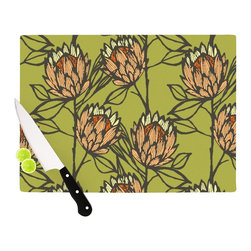 """Kess InHouse - Gill Eggleston """"Protea Olive"""" Green Orange Cutting Board (11"""" x 7.5"""") - These sturdy tempered glass cutting boards will make everything you chop look like a Dutch painting. Perfect the art of cooking with your KESS InHouse unique art cutting board. Go for patterns or painted, either way this non-skid, dishwasher safe cutting board is perfect for preparing any artistic dinner or serving. Cut, chop, serve or frame, all of these unique cutting boards are gorgeous."""