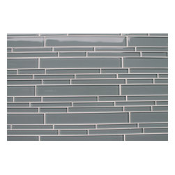 """Rocky Point Tile - 4"""" x 6"""" Sample - Chimney Smoke Blue Gray Random Strip Glass Mosaic Tiles - Add a cool touch to your bathroom with these beautiful, glass mosaic subway tiles that re-create the beauty of shiny wet river rock in your tub surround. Or, install in the kitchen for a backsplash that pairs perfectly with stainless steel, stone or a glossy white porcelain sink."""