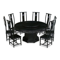 China Furniture and Arts - 66in Rosewood Dragon Motif Dining Table with 8 Chairs - This exquisite round dining table has intricate carving of Chinese imperial dragon motif on the apron, symbolizing prosperity and good luck in Chinese culture. The chairs have open carving of Chinese longevity symbol on the back. This set is handmade in solid rosewood by artisans in China, using the traditional joinery technique for long lasting durability. One removable lazy Susan is included for your convenience. Hand applied rich black ebony finish.