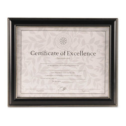 DAX - DAX Document Frame, Black Plastic, 10 1/4 x 12 3/4 - Traditional and classic black document with silver accent lines. Perfect enhancement for any award or certificate. 8 1/2 x 11 includes a two way-easel back with hangers for desktop or wall display; 11 x 14 has hangers for wall display and is double matted (off-white over black mats). Usable certificate included. Can display vertically or horizontally.