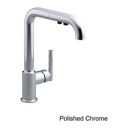 Kohler - Kohler Purist Primary Single-hole Kitchen Sink Faucet/ Spout - Designed to accommodate extra-thick counters, this Purist kitchen faucet combines minimalist style with simple-to-use features. This unique sink has a single lever handle and a high-arch swing spout that includes a pullout sprayhead with two flow options.