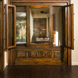 Canyon Road Remodel - The Doors (and a Gate) - Interior windows and surround, constructed with antique panels and fragments.  Photo: Eric Swanson