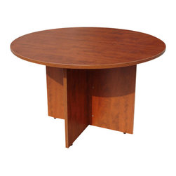 """Boss Chairs - Boss Chairs Boss 47 Inch Round Table in Cherry - This 47"""" round table can be used in many applications. The high pressure laminate is showcased with a 3mm edge banding. The Cherry laminate is durable yet attractive"""