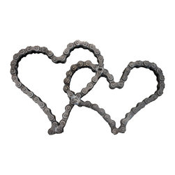 Recycled Salvage Chain Art Design - Hearts I Love You Wall Art Wedding Gift - Perfect gift for that someone special or a wedding