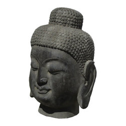 Big Chinese Hand Made Solid Stone Buddha Head Statue - This is a big heavy Buddha head statue which is made of stone.