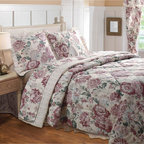 None - Emily Queen Comforter Set - With a traditional floral print reversing to a coordinating pin-stripe in warm colors, the Emily comforter set will keep you comfortable with style. Lemon meringue-hues blend with earth tones and soft blossoms to create a peaceful mood.