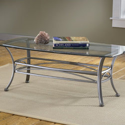 "Hillsdale - Abbington Coffee Table - Hillsdale's subtly sophisticated Abbington occasional collection is created by a combination of a muted pewter finish, elegant scrollwork, and gracefully curved legs. Complete with a glass topped end table, console table and coffee table, this set allows you to accent your entire living room, den or foyer with this lovely ensemble. Though the Abbington occasional is fabulous as a collection, each individual piece is strong enough to stand alone. Features: -Abbington collection. -Muted pewter finish. -Beautiful scrollwork. -Base height: 18"". -Dimensions of glass top: 26"" W x 48"" D. -Total dimensions: 18"" H x 26"" D x 48"" W."