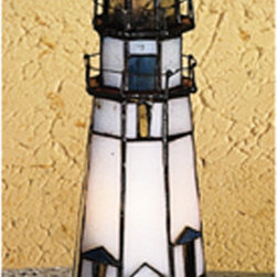 Meyda - 9 Inch Height x 3 Inch Width Marble Head Lighthouse Accent Table Lamps - Color theme: CA Flame Ha