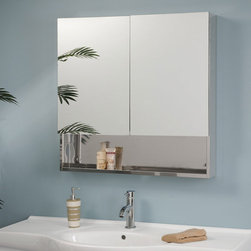 Dawson Stainless Steel Double Door Medicine Cabinet with Mirror - The mirrored doors and lower support shelf of the Dawson Medicine Cabinet create an eye-catching storage solution for your modern bathroom. Interior stainless steel shelving will provide plenty of hidden space for your toiletries while keeping it all within reach.