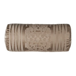 "Fino Lino Linen & Lace - Fino Lino Linen & Lace Neckroll Pillow, 20"" x 9"" - Luxurious in both texture and tone, this stunning bedding ensemble featuring raised damask medallion and striped patterns is paired with accessories enhanced with vermicelli stitching. From Fino Lino Linen & Lace®. Damask medallion and striped li..."