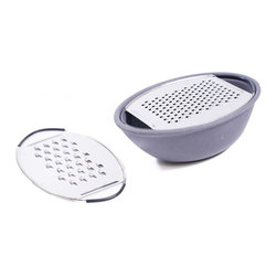 MOBOO® & Stainless Steel Oval Grater w/ 2 Blades, Charcoal - Oval MOBOO® (molded bamboo) bowl with a stainless steel grater lid. As you grate, cheese falls neatly into the bowl. 2 stainless steel blades with large and small sized grater holes.
