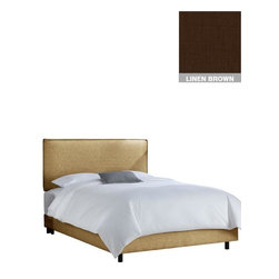 "Home Decorators Collection - Custom Archie Upholstered Bed - The elegant French seams of our Custom Archie Upholstered Bed soften the impact of the sleek profile. This custom bed is available in an array of gorgeous, top-quality fabrics. Includes French seam border. Solid pine frame with metal legs. Includes upholstered bed panels. Fits standard high-profile 9"" box spring. Includes hardware and instructions. Assembled to order in the USA and delivered in 4-6 weeks. Spot clean only."