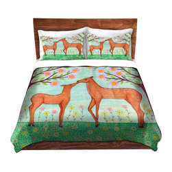 DiaNoche Designs - Duvet Cover Microfiber by Sascalia - Woodland Deer - DiaNoche Designs works with artists from around the world to bring unique, artistic products to decorate all aspects of your home.  Super lightweight and extremely soft Premium Microfiber Duvet Cover (only) in sizes Twin, Queen, King.  Shams NOT included.  This duvet is designed to wash upon arrival for maximum softness.   Each duvet starts by looming the fabric and cutting to the size ordered.  The Image is printed and your Duvet Cover is meticulously sewn together with ties in each corner and a hidden zip closure.  All in the USA!!  Poly microfiber top and underside.  Dye Sublimation printing permanently adheres the ink to the material for long life and durability.  Machine Washable cold with light detergent and dry on low.  Product may vary slightly from image.  Shams not included.