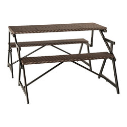 Matrix - Vero Outdoor Synthetic Rattan Bench Convertible Picnic Table - This versatile and stylish piece converts from a settee into a fully functional picnic table with benches. The durable synthetic rattan and powder coated aluminum frame ensure that this furniture will last for years to come.