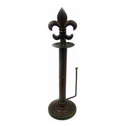 Metal Fleur De Lis Standing Paper Towel Holder - This beautiful antiqued bronze colored fleur de lis standing countertop paper towel holder is a wonderful addition to retro kitchens. The paper towel holder is 20 3/4 inches high, and 6 inches in diameter. The fleur de lis unscrews to accept rolls of paper towels.