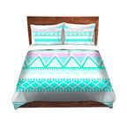 DiaNoche Designs - Duvet Cover Twill by Organic Saturation - Bright Turquoise Tribal - Lightweight and soft brushed twill Duvet Cover sizes Twin, Queen, King.  SHAMS NOT INCLUDED.  This duvet is designed to wash upon arrival for maximum softness.   Each duvet starts by looming the fabric and cutting to the size ordered.  The Image is printed and your Duvet Cover is meticulously sewn together with ties in each corner and a concealed zip closure.  All in the USA!!  Poly top with a Cotton Poly underside.  Dye Sublimation printing permanently adheres the ink to the material for long life and durability. Printed top, cream colored bottom, Machine Washable, Product may vary slightly from image.