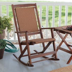 Willow Bay Folding Resin Wicker Rocking Chair - Walnut - Grab a cool glass of lemonade and get ready to enjoy the Willow Bay Wicker Rocking Chair in Walnut. The seat features tightly woven all-weather resin wicker for a comfortable enjoyable sit. Its walnut finish will give any porch an appealing look. It's easy to clean too - just wipe it down with a damp cloth and some soapy water. This chair folds for easy storage.