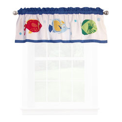 Pem America - Colorful Sea Valance - Vibrant and fun colored fish in an underwater world is the focus of Colorful Sea. This hand pieced, 100% cotton face cloth pattern is a perfect touch for the tropical room with an under the sea theme! The white background is covered with large applique fish in red, green, blue and yellow.  The drop is a series of pieced frames of aqua blue, white and navy. Valance measures 18 inches high by 70 inches wide with 3 inch rod pocket. 100% cotton face material. Machine wash cold/gentle, do not bleach, tumble dry low.