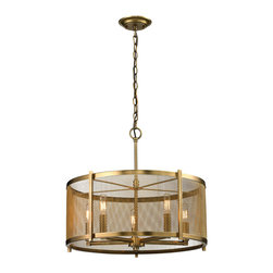 Elk Lighting - Elk Lighting Rialto Collection 5 Light Pendant In Aged Brass - 31483/5 - 5 Light Pendant In Aged Brass - 31483/5 in the Rialto collection by Elk Lighting The Rialto series showcases a design that allows for appreciation of the solid metal inner structure visible through a delicate transparent metal mesh.  The Aged Brass finish assists in discreetly defining the curvaceous shape of this timeless collection.  Pendant (1)