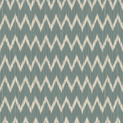 Custom-designed Textiles & Wallcoverings - Custom-designed blue ikat zig-zag fabric.