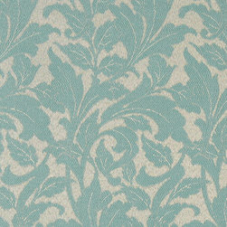 Teal Leaves Outdoor Indoor Marine Upholstery Fabric By The Yard - This material is an upholstery grade outdoor and indoor fabric. It is stain, water, mildew, bacteria and fading resistant. It is also Scotchgarded for further stain resistance and durability. This material is woven for superior appearance.
