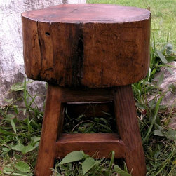 Groovy Stuff - 18 in Stump Seat - This 18 in Stump Seat is a great addition to your outdoor seating in the grass or on a patio.  You may also consider putting it inside for a rustic feel and extra seating.  The light brown teakwood is a sure complement to any color-scheme.  The primitive feel to this old time stump stool makes this chair one of a kind.  The various surfaces are varied in color and grain and each one will be unique and look antique. * This 18 in Stump Seat is a great addition to your outdoor seating in the grass or on a patio.. You may also consider putting it inside for a rustic feel and extra seating.. The light brown teakwood is a sure complement to any color-scheme.. LxWxH: 14 x 14 x 18 (inches). Reclaimed teakwood furniture creates this rugged rustic look. Bring a bygone era of yokes, plows wagons to your home or business. Each unique piece is suited for both indoor and outdoor use. Please Note: Due to the unique nature of each piece of wood and the materials used, no two items are exactly alike. These items can vary in dimension, weight and color from the shown image and the listed information