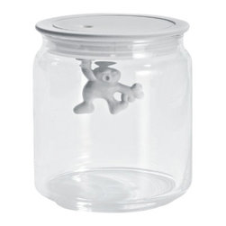 "Alessi - Alessi ""Gianni"" Kitchen Glass Box, White, Small - A kitchen box in glass with hermetic lid in thermoplastic, Gianni is a little man holding on tight."