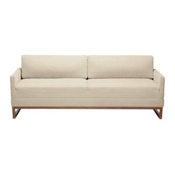 Blu Dot - Diplomat Sleeper Sofa by Blu Dot - Sofa by day, peacekeeper by night. The Blu Dot Diplomat Sleeper Sofa is a warm and inviting sofa that flips forward to become a queen-sized sleeper at a moment's notice. Available in 5 fabric colors that all coordinate thoughtfully with walnut legs: Brunette, Coal, Smog or Stone. In 1997, Blu Dot was established in Minneapolis by three college friends with a shared passion for art, architecture and design. Then and today, their goal is to bring good design to as many people as possible, collaborating to create modern home furnishings and accessories that are useful, affordable and exceedingly desirable.