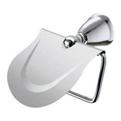 Gedy - Polished Chrome Toilet Paper Holder with Cover - Just the toilet roll holder for a more contemporary & modern bathroom - begin with this toilet tissue holder.