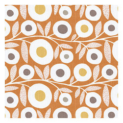 Orange & Gray Graphic Floral Fabric - Modern graphic floral print in tangerine orange, gray & white that will put some spring in your decor's stepRecover your chair. Upholster a wall. Create a framed piece of art. Sew your own home accent. Whatever your decorating project, Loom's gorgeous, designer fabrics by the yard are up to the challenge!