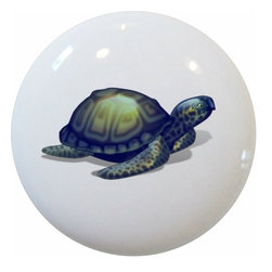 Carolina Hardware and Decor, LLC - Blue Sea Turtle Ceramic Cabinet Drawer Knob - New 1 1/2 inch ceramic cabinet, drawer, or furniture knob with mounting hardware included. Also works great in a bathroom or on bi-fold closet doors (may require longer screws). Item can be wiped clean with a soft damp cloth. Great addition and nice finishing touch to any room! Item(s) ship within 2-3 business days of