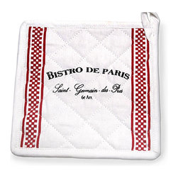 Bistro de Paris - Pot Holder - Add a touch of the Parisian gourmet to your home kitchen with the Bistro de Paris Pot Holder.  Made from quilted white cloth printed with a vintage-style legend and a double band of small red checks, it has an instant European flair with a practical sensibility.  A perfect addition to a housewarming gift, it also looks crisp and lifts the mood when hung above your oven.