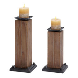 ecWorld - Rustic Serenity Raw Wooden Handcrafted Candle Holders - Set of 2 - This rustic set of block style, square Candle Holders are constructed with natural wood. Iron and ceramic accents in dark espresso bring this set alive. Add style and personality to your home. Sure to add ambiance to any room decor.