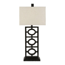Surya - Table Lamp-Neutral Linen-Like and Aged Black - This bold but charming table lamp features a metal base in a blend of geometric shapes topped with an ivory linen shade. This piece will add sophistication and a modern flair to any room in your home.