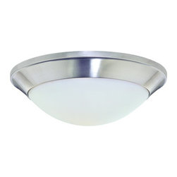 Dolan Designs - Dolan Designs 5401 1 Light Down Light Flushmount Ceiling Fixture from the Rainie - Dolan Designs 5401 Rainier 1 Light Down Light Flushmount Ceiling FixtureFor those seeking a retro look, this Contemporary 1 Light Flushmount Ceiling Fixture features styling from classic Americana. With its sleek design and simple dome shaped Satin White Glass Shade, this retro-futuristic fixture will enhance the look of any room.With beautiful bowl shaped Satin White Glass Shades and a stylish finish, the Rainier collection, featuring simple modern swept arms, will bring a touch of class to any home.  Dolan Designs 5401 Features: