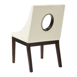 """Sunpan Modern - Studio Arm Chair - Features: -Finish: Espresso. -Material: Solid wood/bonded leather. -Striking slightly oversized chair can be used for dining or lounging. -Sculpted track arms and an oval cut out on the back give this chair a distinctly refined personality. -Seat height: 18.5"""". -Please note that the leg color on Sunpan dining chairs does not always match the dining table color. -Please note that although every attempt has been made to ensure accuracy, all dimensions are approximate and colors may vary. -This item is deemed acceptable for both residential and nonresidential environments such as restaurants, hotels, lounges, offices and reception areas. Please note that this item carries the manufacturer's standard ONE YEAR WARRANTY from the date of purchase. Please contact Wayfair customer service or sales representatives for further information."""