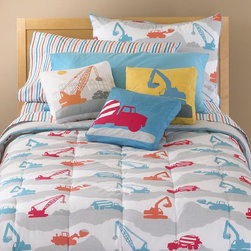 Construction Zone Bedding - I fell in love when I saw this construction bedding. The color combination is very cheerful and modern.