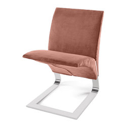 Zuri Furniture - Brown Microfiber Bouncy Dining Chair - The name says it all. The whimsical Bouncy chairs uniform construction allows it to bounce up and down as you sit in it. Destined to become a conversation piece in any room, the The Bouncy contemporary chair is ideal for residential or commercial use. Features one piece chrome plated steel base, 300 lb. weight capacity, and suede microfiber available in multiple color choices.