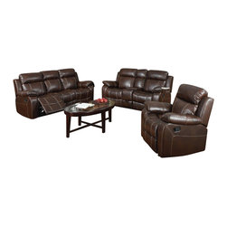 Coaster - Coaster Myleene Leather 3 Piece Reclining Sofa Set in Brown - Coaster - Sofa Sets - 60302122233PKG