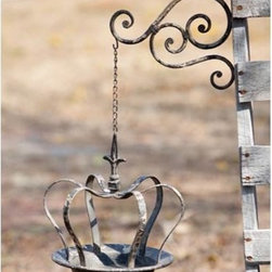 Beautiful Hanging Crown Bird Feeder - Fill this beautiful distressed hanging bird feeder with seeds and hang it outside in your garden to attract a beautiful array of colorful birds. This bird feeder is also great as a candle holder, or a tray for your little treasures.