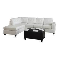 Poundex - Poundex F7272 Cream Bonded Leather Living Room Sectional Sofa - The Poundex F7272 sectional sofa has a simple modern look that works for any living room decor. This sectional comes upholstered in a beautiful cream bonded leather in the front. Skillfully chosen match material is used on the back and sides where contact is minimal. High density foam is placed within the cushions for added comfort. Only hardwood products were used when crafting the sectional making it very durable. The middle back cushion on the sofa features a built-in drop down console with cup holders. Attached to the bottom are brown finished wooden legs. The price shown is for the sectional sofa only and the ottoman shown is NOT included.