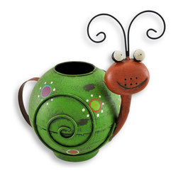 Whimsical Hand Painted Folk Art Snail Watering Can - Perk up your plants and your day using this whimsical watering can! Take this playful snail to the water and 'fill 'er up' through the large opening in the top, then watch the magical waterfall pouring out of the cleverly placed spout! With big round eyes, curly feelers and a silly smile, this is one watering can you'll want on display at all times! It is crafted of metal and hand painted with weathered appeal. It measures 8 3/4 inches tall, 10 inches long and 6 inches wide, and makes an excellent gift for a gardener!