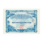 """Buyenlarge.com, Inc. - Banque Coloniale Et De Travaux Publics- Gallery Wrapped Canvas Art 12"""" x 18"""" - Stock certificates are like currency, sharing value and beauty on the face.  This cancelled certificate captures a moment in history as technology advances and big business moves forward."""