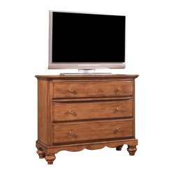 Hillsdale Furniture - Hillsdale Hamptons 3-Drawer TV Chest in Weathered Pine - Rich in quality and design, Hillsdale Furniture's Hamptons bedroom collection boasts a dynamic weathered pine finish that accentuates the cozy cottage feel. The graceful lines of the sleigh bed are enhanced by a planked design, while classic bun feet and a scalloped base on the case pieces add a traditional charm that will work with many home decors. Case pieces include: nightstand, dresser, mirror, chest, or TV chest. Solid pine construction. Assembly required.