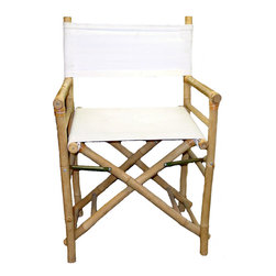 Bamboo54 - Bamboo/Canvas Folding Director's Chair - Set of 2 - Take a classic design and give a tropical style twist to your home with this Bamboo/Canvas Folding Director's Chair. This Director's Chair could be right at home at a safari or as part of your beach or island room decor. It would also make an excellent tropical patio chair. The frame of this furniture is constructed from bamboo pole in its own natural tan shade-- a pleasing contrast against the white canvas back and seat. The perfect addition to any furniture set, the Bamboo/Canvas Folding Director's Chair is also foldable for easy storage and sure to garner attention wherever you use them!