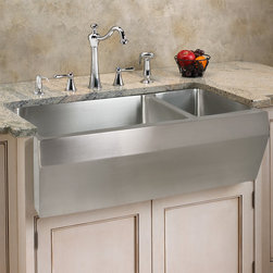 "36"" Optimum 70/30 Offset Double-Bowl Stainless Steel Farmhouse Sink - Angled Fro - The angled front of this double well sink adds a point of visual interest, while the stainless steel finish makes your kitchen look ready for professional use. The double wells provide room for dish washing and food preparation."