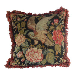 "www.pillowtallkdirect.com - 19"" x 19"" Needlepoint and Petit Point Floral Bird Pillow - Extraordinary bird alighting in floral ground. Needlepoint and petit point double trimmed with black piping and lush loop fringe of coral, brown and tan. Backed in black and brown cotton stripe and filled with down."