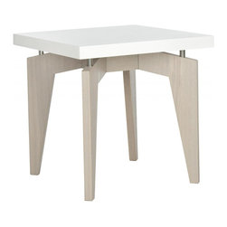 Safavieh - Josef Lacquer End Table - The smooth white lacquer top of the contemporary Joseph end table appears to float on metal posts that connect it to grey-washed wood grained legs. Graphic and sleek, the surface of this end table is easy to clean and great for entertaining.