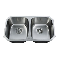Kraus - Kraus 32 inch Undermount 50/50 Double Bowl 16 Gauge Sink Combo Set - Add an elegant touch to your kitchen with a unique and versatile undermount sink from Kraus