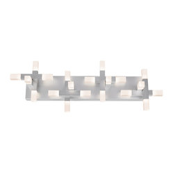 "Sonneman - Sonneman Connetix 29"" Wide LED Bath Light - Bring modern lighting style home with the Connetix collection from Sonneman. This LED bath light fixture is eye-catching and contemporary with a rectangular backplate in a bright satin aluminum finish that features lighted rods extending horizontally vertically and outward. Bright CREE LEDs are housed within white etched acrylic at the ends of the rods and offer warm white lighting. Connetix bath light. Bright satin aluminum finish. White etched acrylic. Includes 20 CREE LED array (34 total watts). 3000K color temperature; CRI 80. Light output 3200 lumens. Dimmable. 29"" wide. 10"" high. Extends 5"" from the wall.  Connetix bath light.  Bright satin aluminum finish.  White etched acrylic.  Includes 20 CREE LED array (34 total watts).  Light output 3200 lumens.  Comparable to two 100 watt incandescent bulbs.  3000K color temperature; CRI 80.  Dimmable.  29"" wide.  10"" high.  Extends 5"" from the wall."